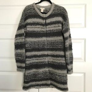 SUNDANCE Striped Wool Alpaca Long Cardigan Sweater